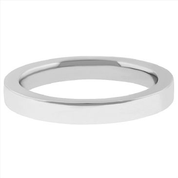 14k White Gold 3mm Comfort Fit Flat Wedding Band Super Heavy Weight