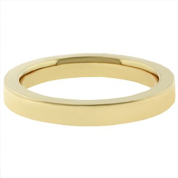 14k Yellow Gold 3mm Comfort Fit Flat Wedding Band Super Heavy Weight