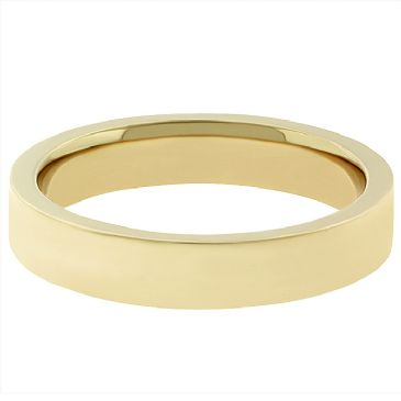 14k Yellow Gold Comfort Fit 4mm Flat Wedding Band Heavy Weight