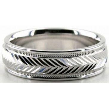 Platinum 950 6mm Diamond Cut Wedding Band 632