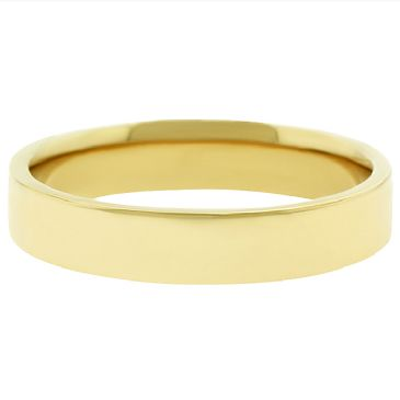 18k Yellow Gold 4mm Flat Wedding Band Medium Weight