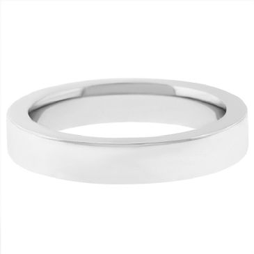 14k White Gold 4mm Comfort Fit Flat Wedding Band Super Heavy Weight