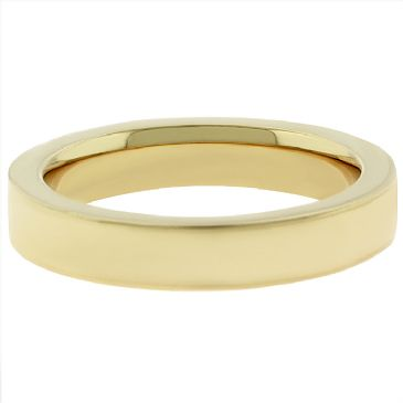 14k Yellow Gold 4mm Comfort Fit Flat Wedding Band Super Heavy Weight