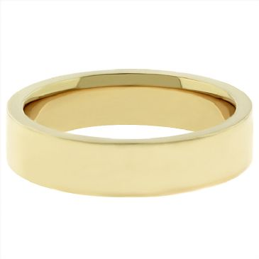 14k Yellow Gold 5mm Comfort Fit Flat Wedding Band Heavy Weight