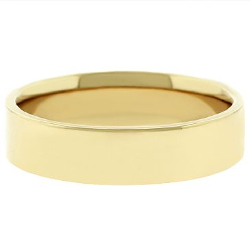 14k Yellow Gold 5mm Flat Wedding Band Medium Weight