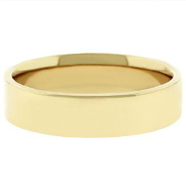 18k Yellow Gold 5mm Flat Wedding Band Medium Weight