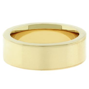 14k Yellow Gold 5mm Comfort Fit Flat Wedding Band Super Heavy Weight