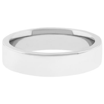 18k White Gold 5mm Flat Wedding Band Super Heavy Weight