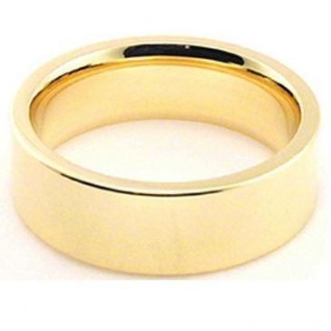 14k Yellow Gold 6mm Comfort Fit Flat Wedding Band Heavy Weight
