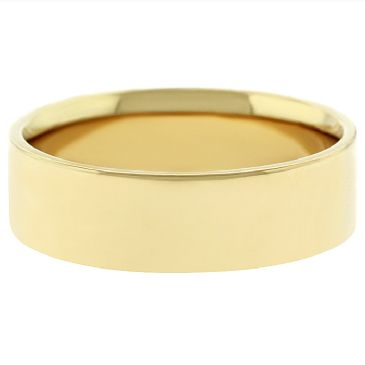 14k Yellow Gold 6mm Flat Wedding Band Medium Weight