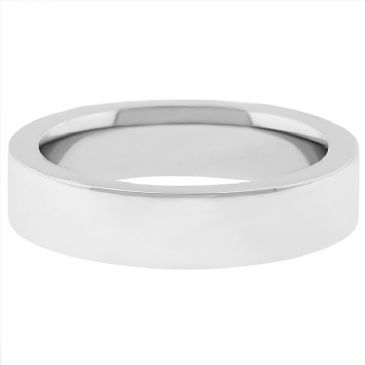 14k White Gold 6mm Comfort Fit Flat Wedding Band Super Heavy Weight