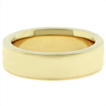 14k Yellow Gold 6mm Comfort Fit Flat Wedding Band Super Heavy Weight