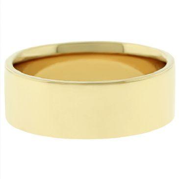 14k Yellow Gold 7mm Flat Wedding Band Medium Weight