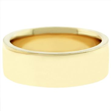 14k Yellow Gold 7mm Flat Wedding Band Super Heavy Weight