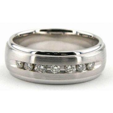 14K Gold 7mm Diamond Wedding Bands Rings 1221