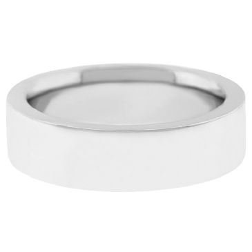 18k White Gold 7mm Flat Wedding Band Super Heavy Weight