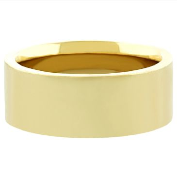 14k Yellow Gold 8mm Comfort Fit Flat Wedding Band Heavy Weight