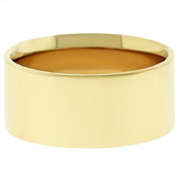 14k Yellow Gold 8mm Flat Wedding Band Medium Weight
