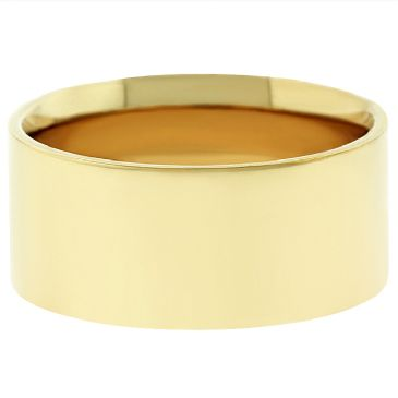 18k Yellow Gold 8mm Flat Wedding Band Medium Weight