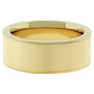 14k Yellow Gold 8mm Comfort Fit Flat Wedding Band Super Heavy Weight