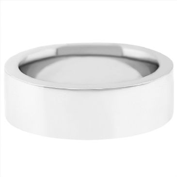 18k White Gold 8mm Flat Wedding Band Super Heavy Weight