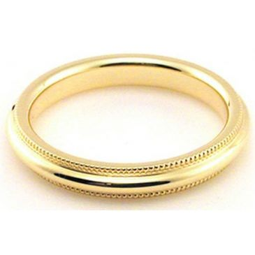 14k Yellow Gold 3mm Milgrain Wedding Band Heavy Weight Comfort Fit