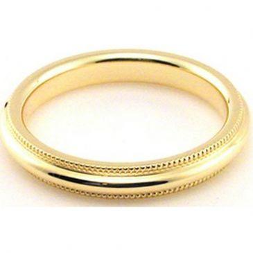 18k Yellow Gold 3mm Comfort Fit Milgrain Wedding Band Heavy Weight