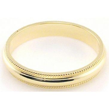 14k Yellow Gold 3mm Milgrain Wedding Band Medium Weight