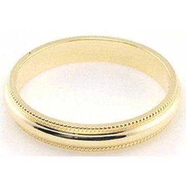 14k Yellow Gold 3mm Milgrain Wedding Band Medium Weight