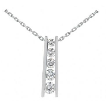 Platinum 950 Diamond Journey Pendant 5 Stone 1.50ctw. JPD1700PLT