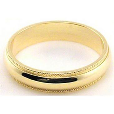 14k Yellow Gold 4mm Milgrain Wedding Band Medium Weight
