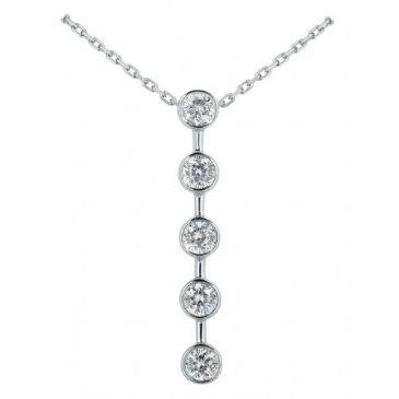 Platinum 950 Diamond Journey Pendant 5 Stone 1.75ctw. JPD1715PLT