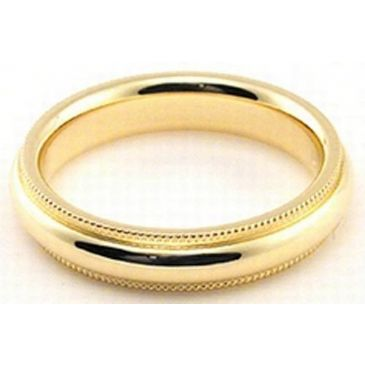 14k Yellow Gold 4mm Milgrain Wedding Band Heavy Weight Comfort Fit
