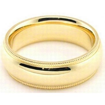 14k Yellow Gold 6mm Milgrain Wedding Band Heavy Weight Comfort Fit
