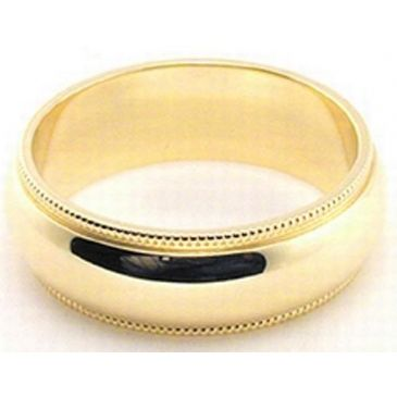 14k Yellow Gold 6mm Milgrain Wedding Band Medium Weight