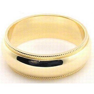 14k Yellow Gold 6mm Milgrain Wedding Band Medium Weight