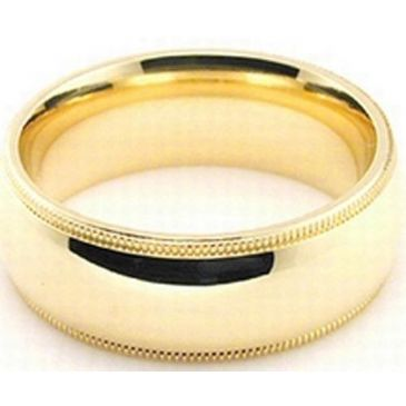 14k Yellow Gold 7mm Milgrain Wedding Band Heavy Weight Comfort Fit