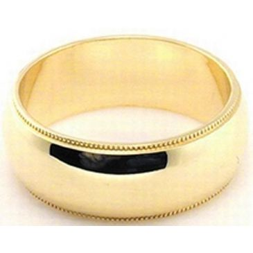 14k Yellow Gold 7mm Milgrain Wedding Band Medium Weight