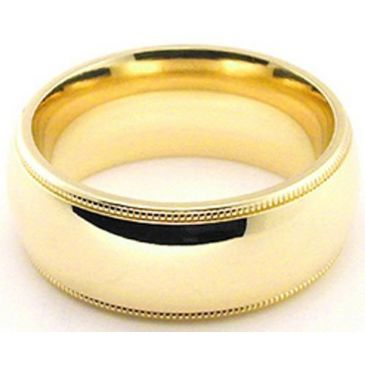 14k Yellow Gold 8mm Milgrain Wedding Band Heavy Weight Comfort Fit