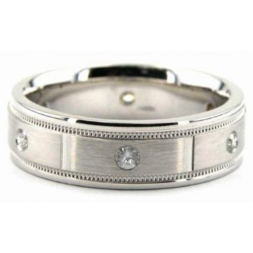 14K Gold 6.5mm Diamond Wedding Bands Rings 0868