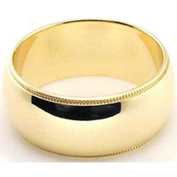 14k Yellow Gold 8mm Milgrain Wedding Band Medium Weight