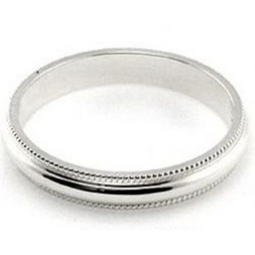 14k White Gold 3mm Milgrain Wedding Band Super Heavy Weight Comfort Fit