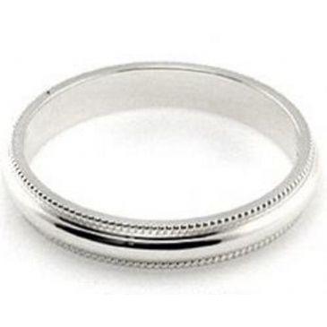 14k White Gold 3mm Milgrain Wedding Band Super Heavy Weight Comfort Fit