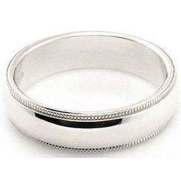 14k White Gold 5mm Milgrain Wedding Band Super Heavy Weight Comfort Fit