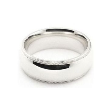 14k White Gold 7mm Milgrain Wedding Band Super Heavy Weight Comfort Fit