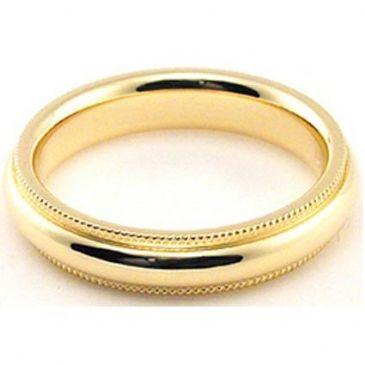 18k Yellow Gold 4mm Comfort Fit Milgrain Wedding Band Heavy Weight