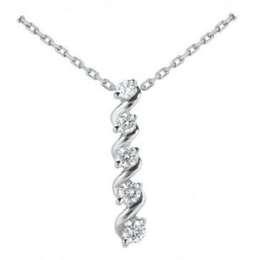 Platinum 950 Diamond Journey Pendant 5 Stone 1.07 ctw. JPD1760PLT