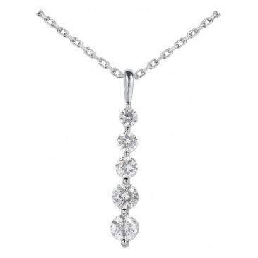 Platinum 950 Diamond Journey Pendant 5 Stone 1.50 ctw. JPD1764PLT