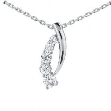 18k Gold Diamond Journey Pendant 5 Stone 1.25 ctw. JPD205518K