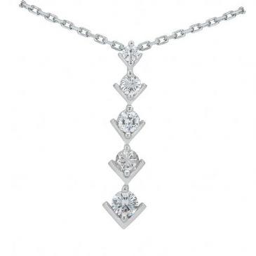 18k Gold Diamond Journey Pendant 5 Stone 1.25 ctw. JPD210218K